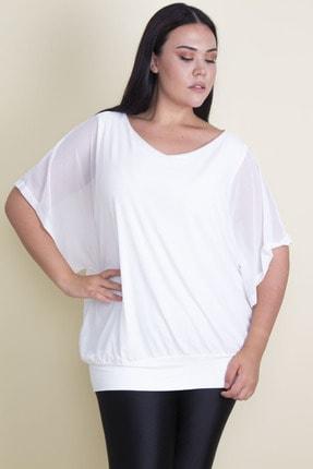 Şans Kadın Kemik Dışı Şifon İç Bluzu Viskon Yarasa Kol Sırt Detaylı Bluz 65N17952