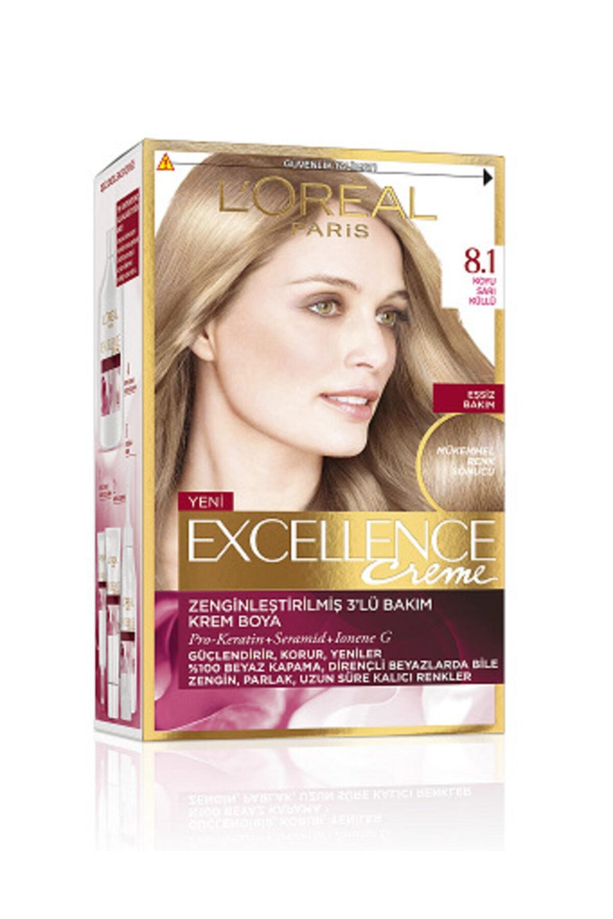 L'Oreal Paris Excellence Creme Saç Boyası 8.1 Koyu Sarı Küllü 1