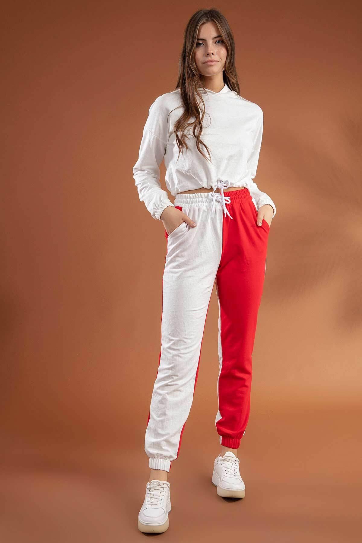 Y-London Kadın Beyaz Kırmızı İki Renkli Paçası Lastikli Örme Eşofman Altı Y20W134-2071 1