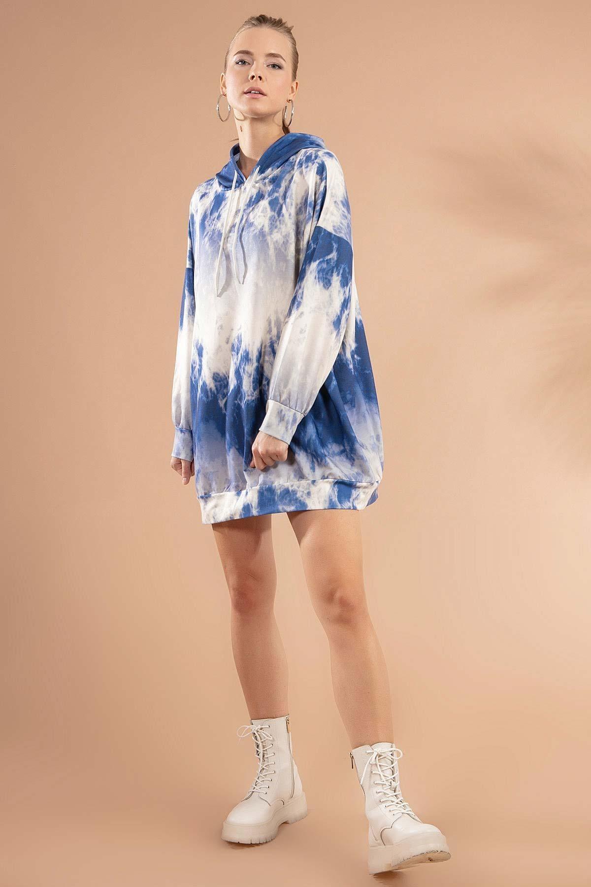 Y-London Kadın Beyaz Lacivert Baskılı Kapşonlu Sweatshirt Elbise P20W-4125-3 2