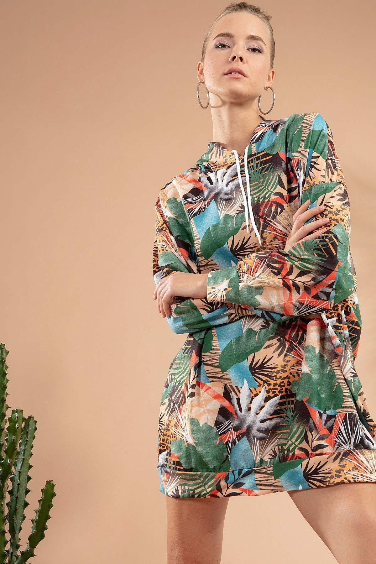 Y-London Kadın Yeşil Mavi Tropikal Desenli Kapşonlu Sweatshirt Elbise Y20W110-4125-11 1