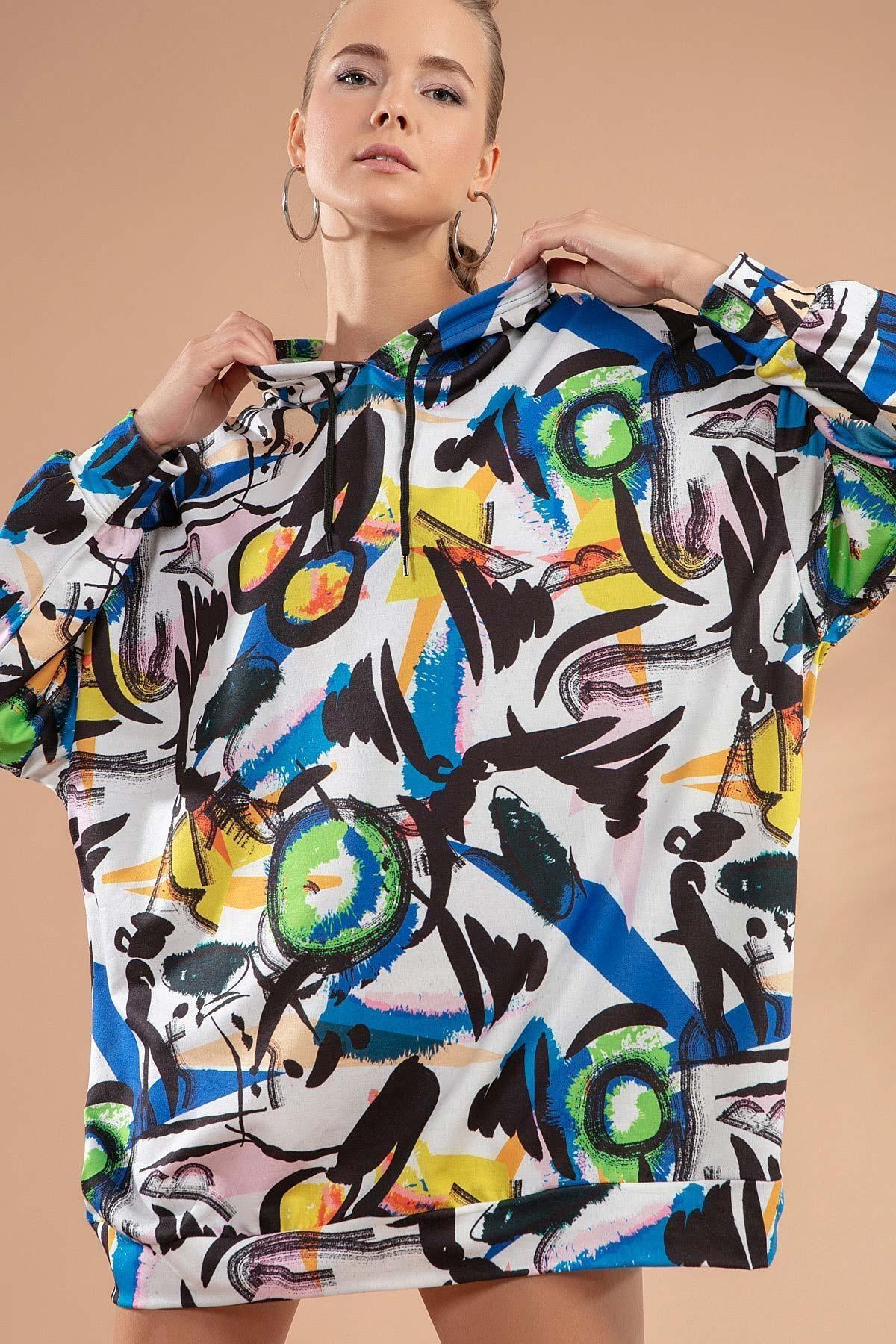 Y-London Kadın Beyaz Siyah Baskılı Kapşonlu Örme Sweatshirt Elbise Y20W110-4125-14