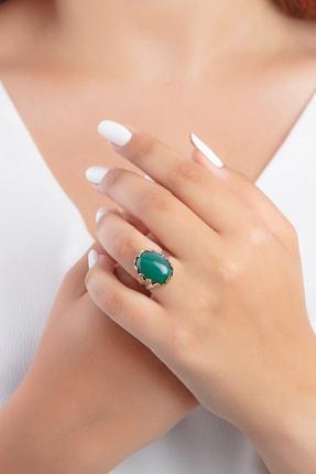 Güçlü Kuyumculuk Kadın Dogal Yeşil Akik Taşlı Tugra Ve Vav Modelli Otantik Gümüş Yüzük
