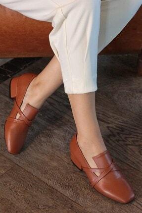 Mio Gusto Doris Taba Çapraz Bantlı Topuklu Ayakkabı