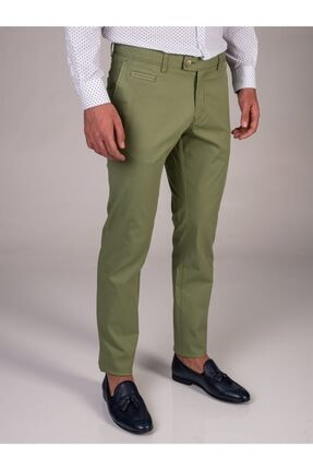 Dufy Yeşil Baskı Sık Dokuma Erkek Pantolon - Slım Fıt