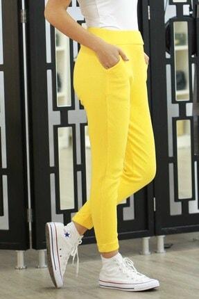 Madmext Kadın Sarı Mad Girls  Fitilli Basic Kadın Eşofman Mg363
