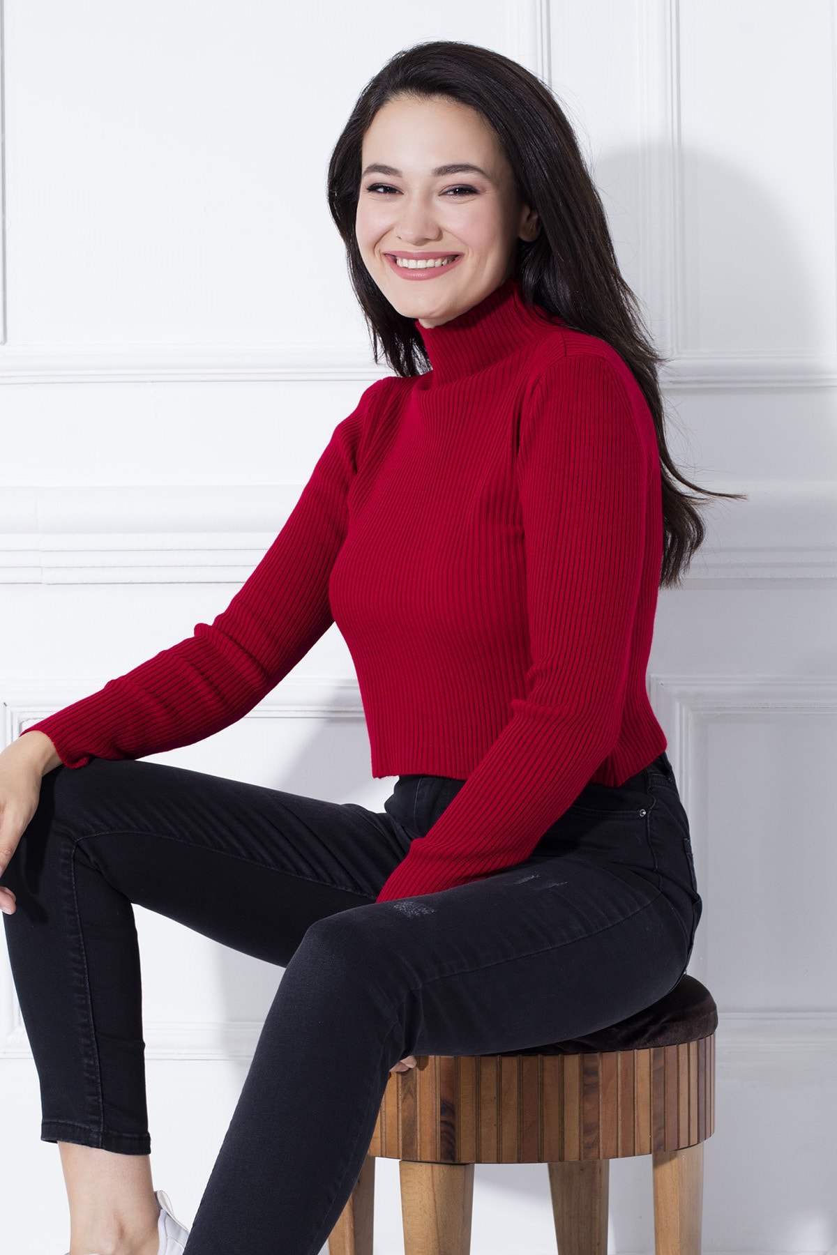 Lela Kırmızı Dik Yaka Crop Kazak Kadın Kazak 4615011