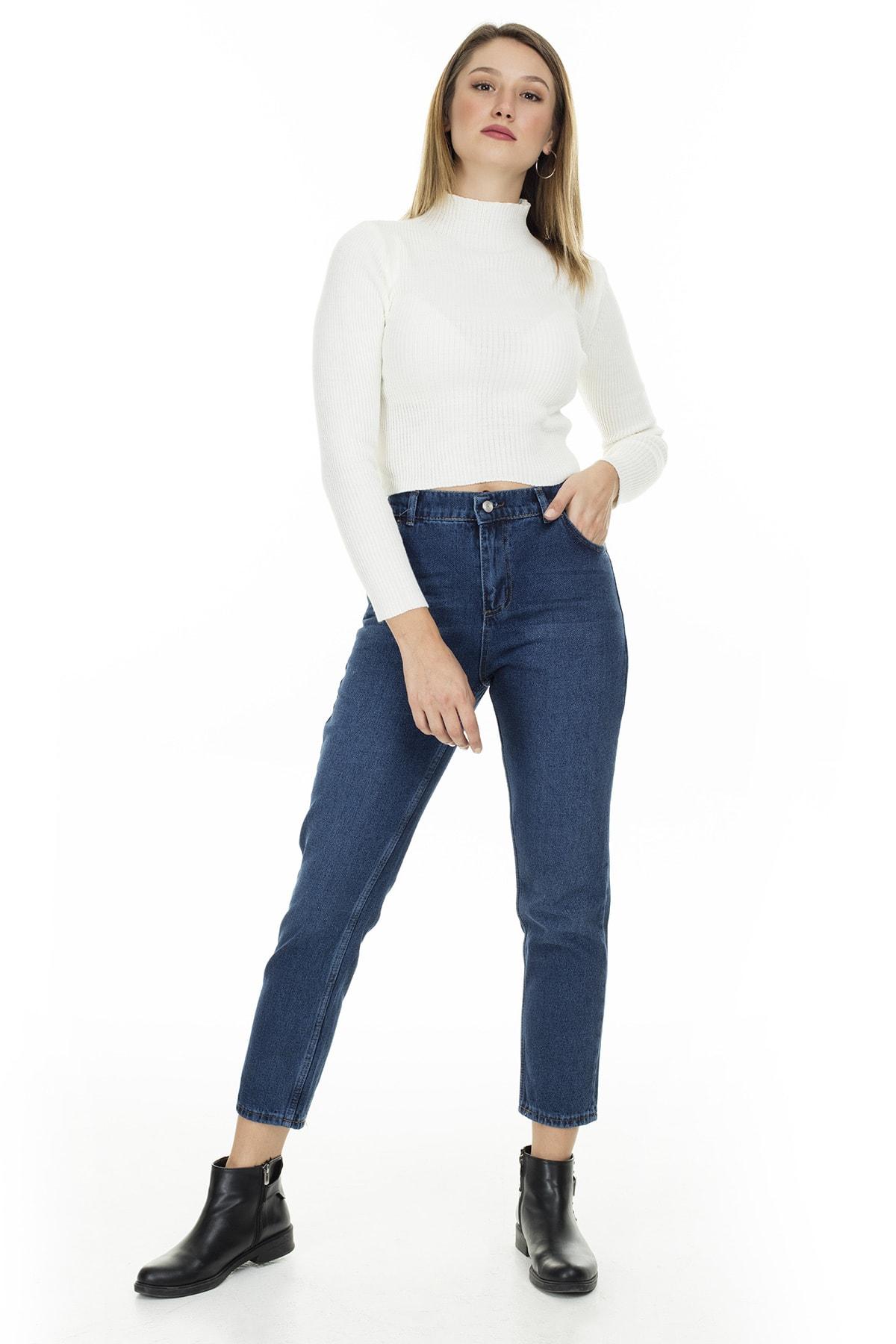 Lela Kadın Pamuklu Mom Jeans Kot Pantolon 5873042