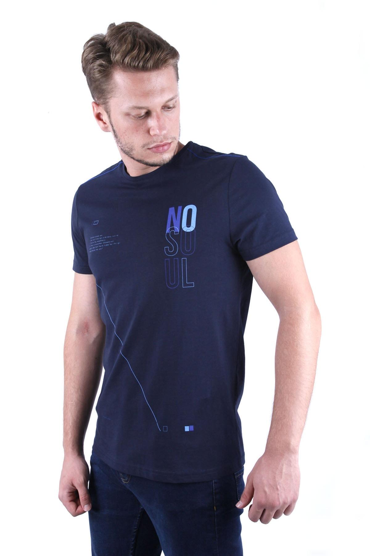 Canelia Erkek Lacivert Slimfit T-shirt 2