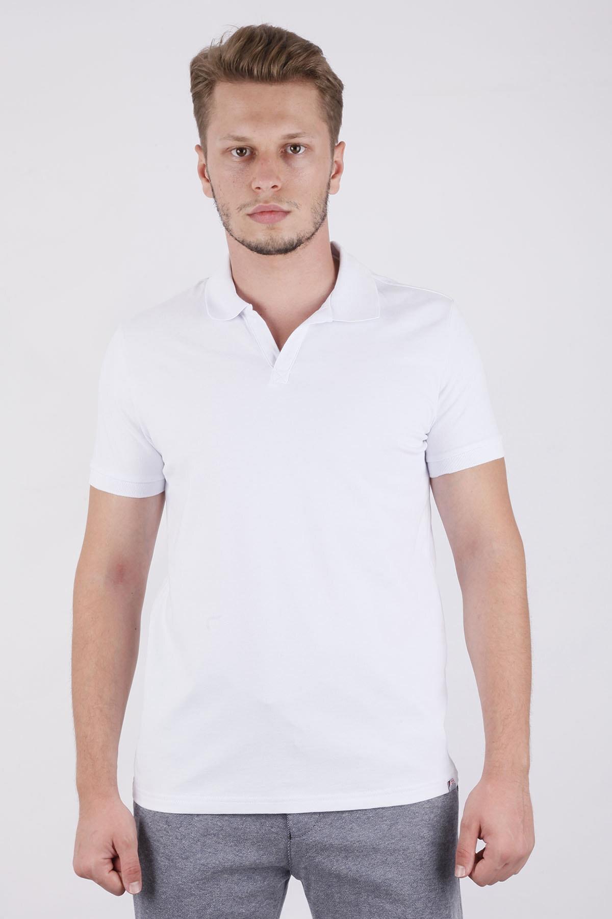 Canelia Erkek Beyaz Renk Slimfit T-shirt 1
