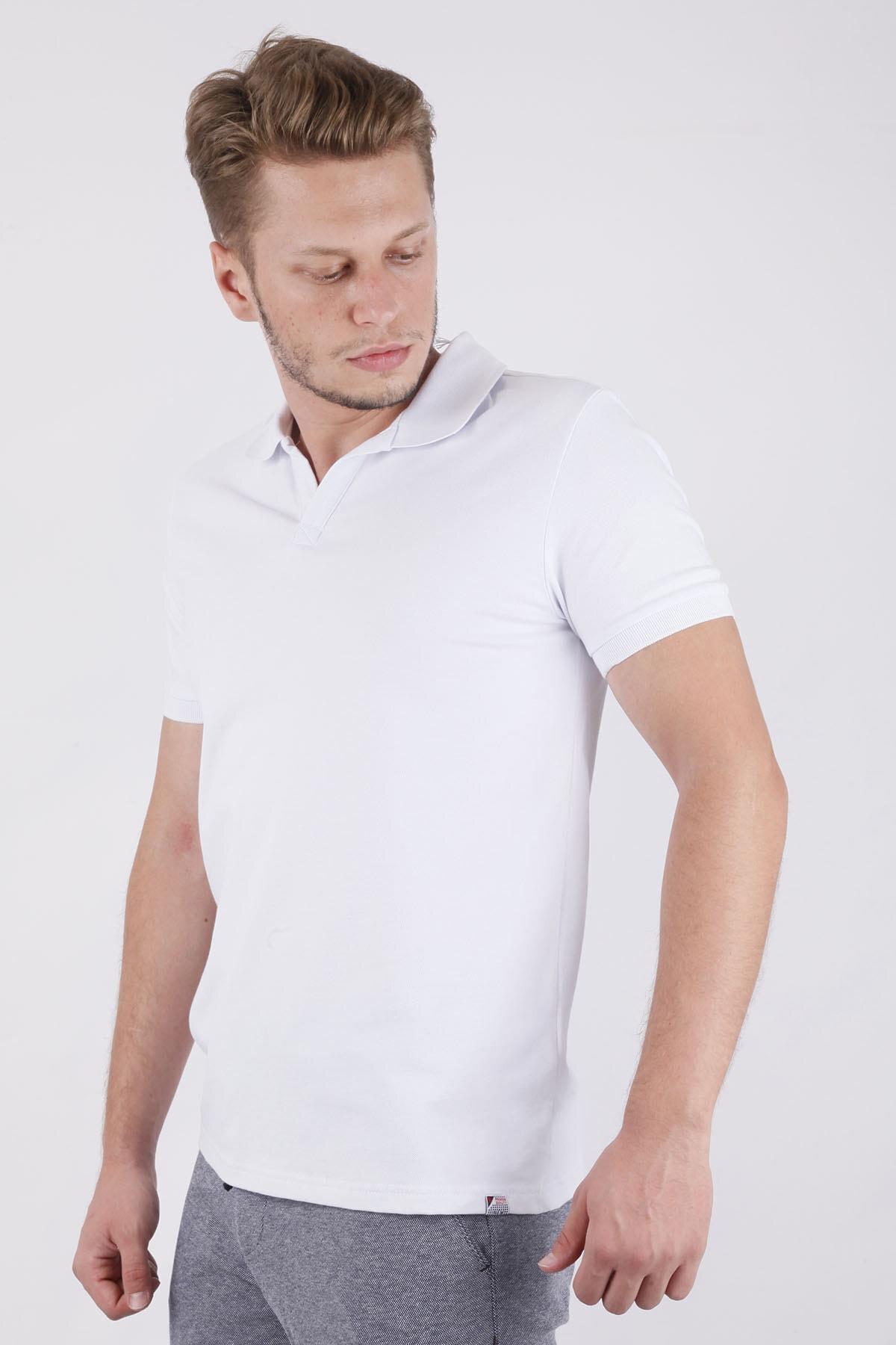Canelia Erkek Beyaz Renk Slimfit T-shirt 2