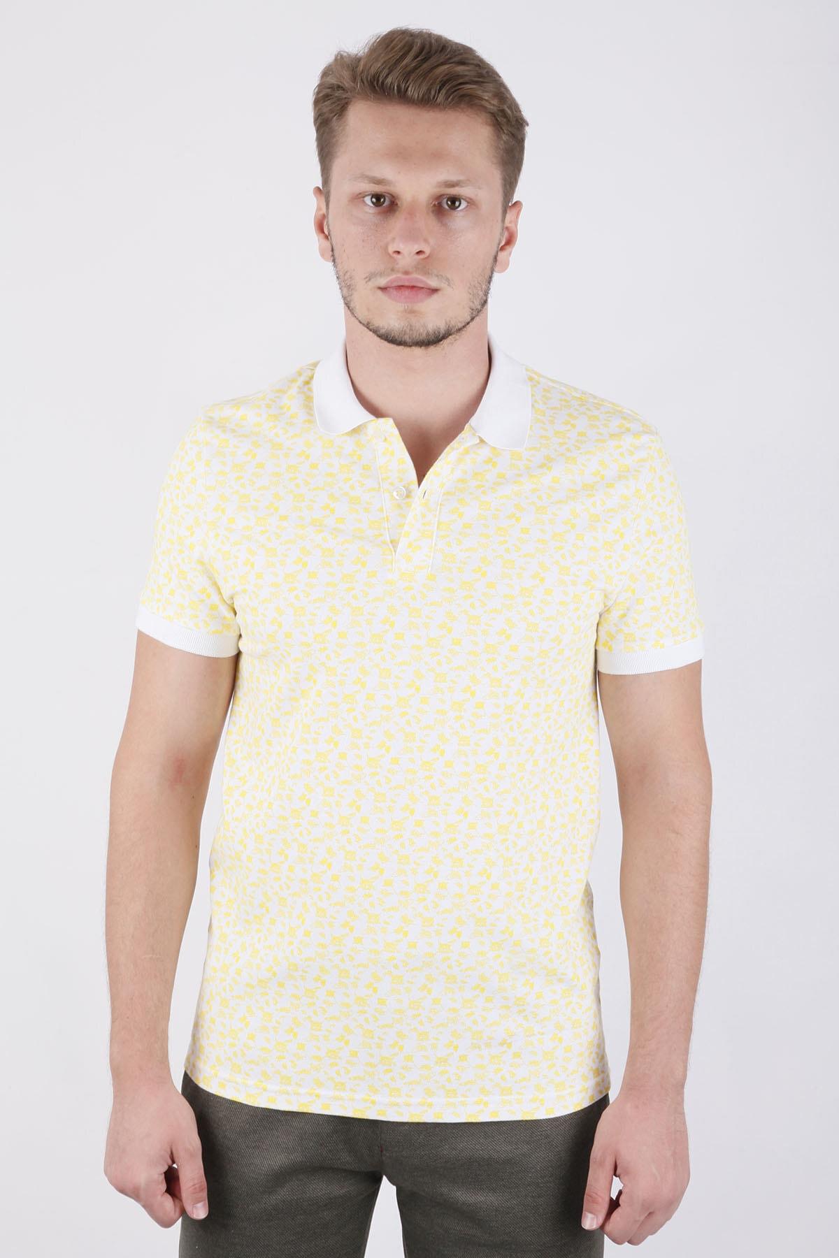 Canelia Erkek  Sarı Baskılı Likralı Pike Slimfit T-shirt 1