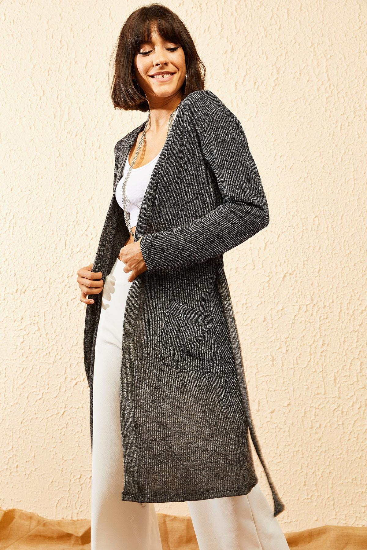 Bianco Lucci Kadın Siyah Beli Kuşaklı Uzun Cepli Hırka 10121016