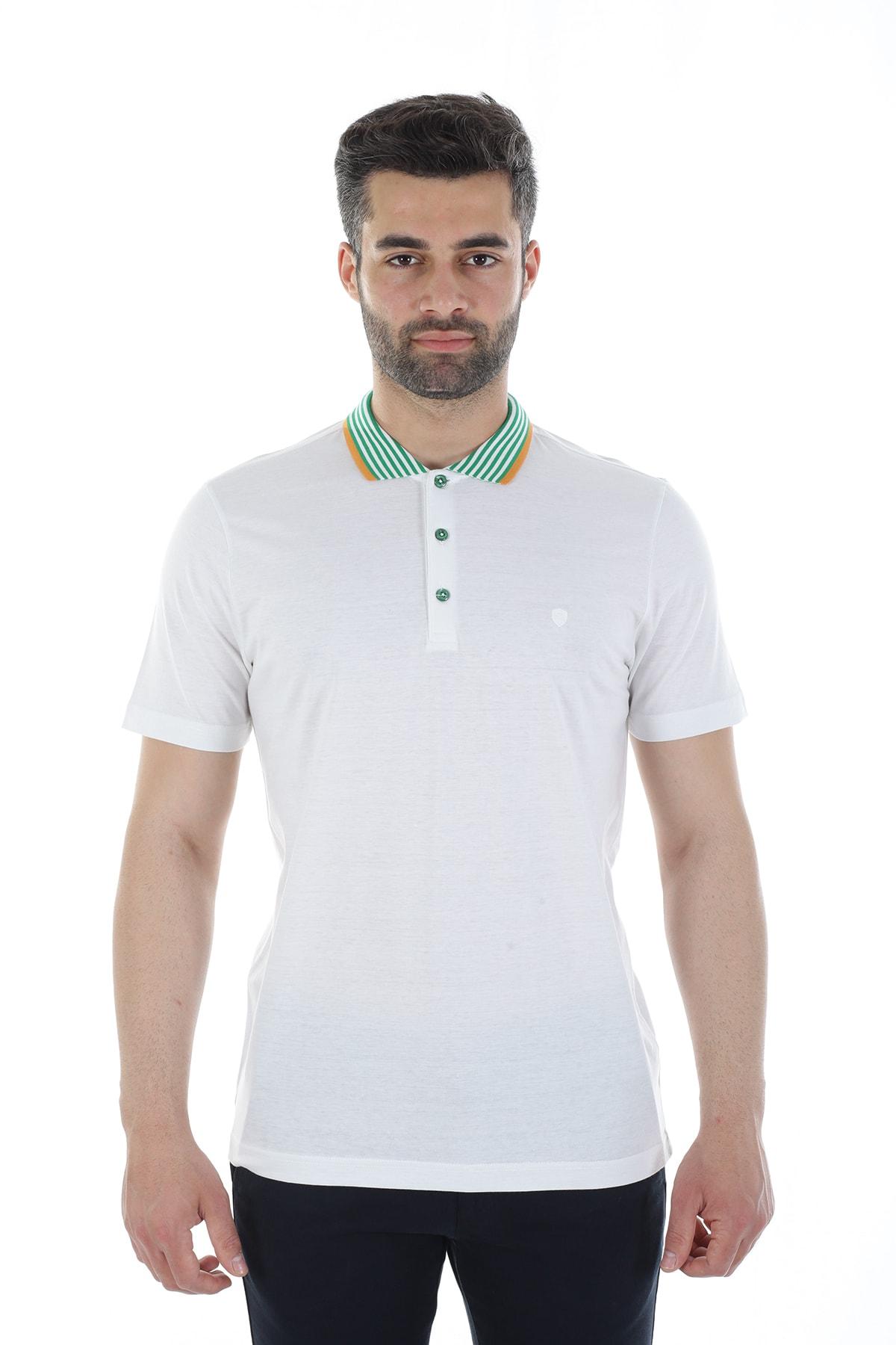 Diandor Erkek Beyaz Polo Yaka T-shirt 1