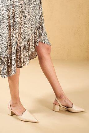 Louis Cardy Mentallo Bej Hakiki Deri Kadın Topuklu Ayakkabı