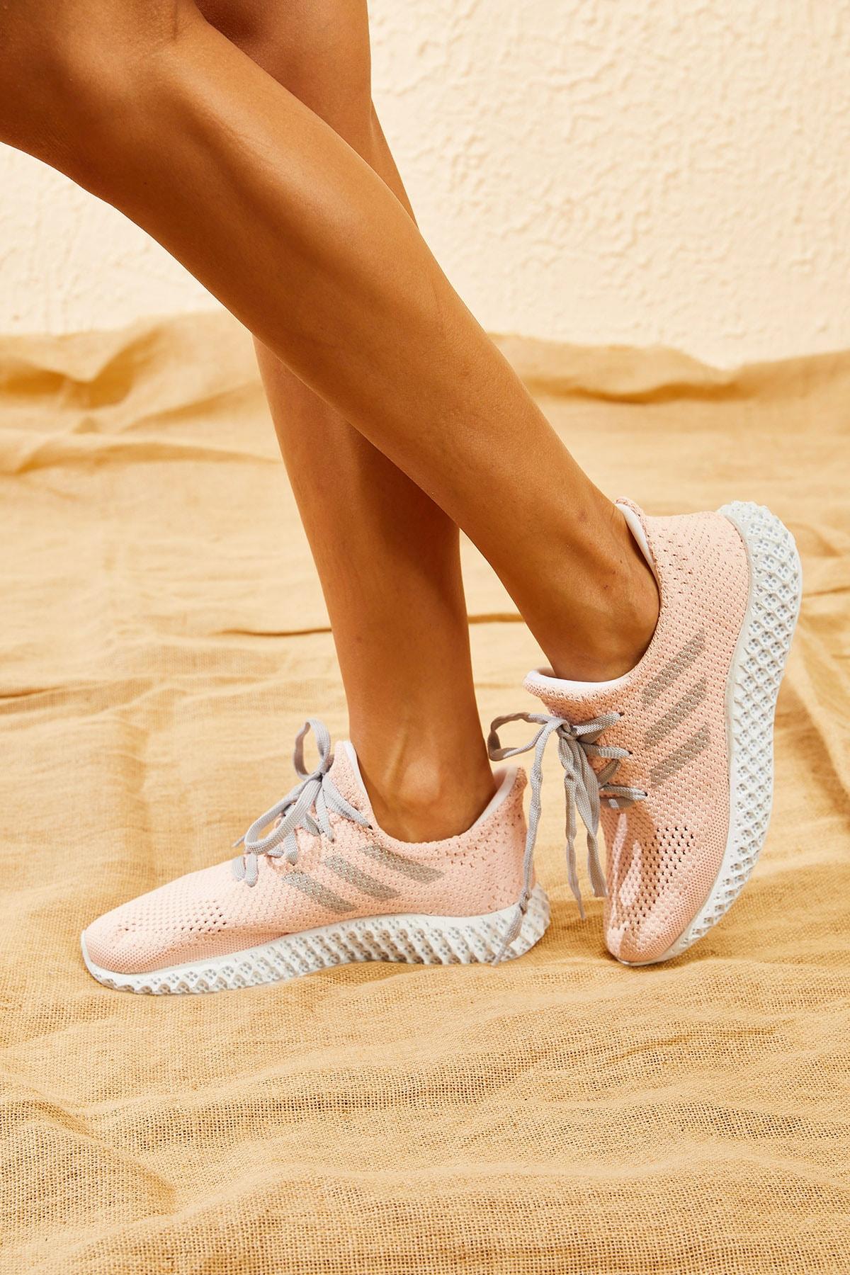 Bianco Lucci Kadın Pudra Rahat Triko Örme Ayakkabı AYKB001 2