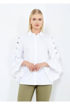 Adze Kadın Beyaz Kol Detaylı Gömlek Beyaz 42