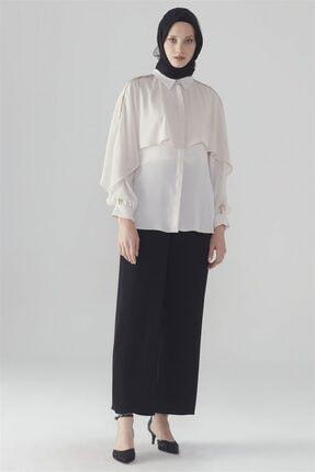 Zühre Broş Detaylı Gömlek Bej G-0031