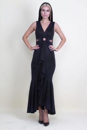 Şans Kadın Siyah Bel Dekolteli Abiye Elbise