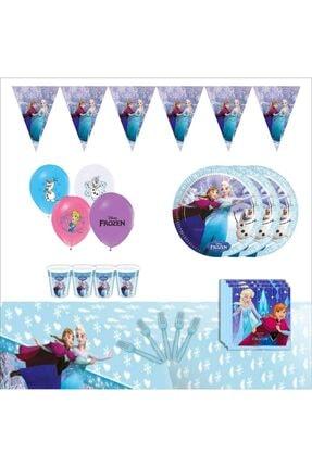 Frozen Karlar Ülkesi Elsa 16 Kişilik Mavi Doğum Günü Parti Malzemeleri Süsleri Seti
