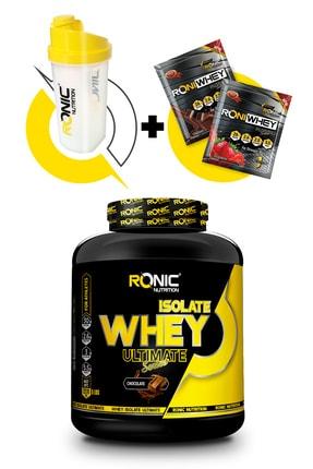 Ronic Nutrition Ultimate Isolate Whey Protein Tozu 2270 G (Çikolata Aromalı) Shaker ve 2 Adet Tek Kullanımlık Whey