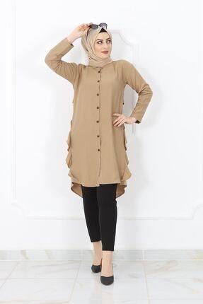kombinal Yan Fırfırlı Arkası Düğmeli Kadın Gömlek Tunik - Vizon