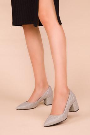 SOHO Gri Kapitone Kadın Klasik Topuklu Ayakkabı 15416