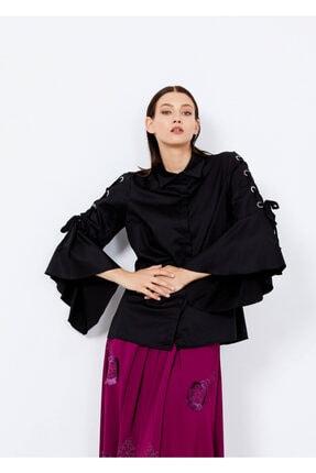 Adze Kadın Siyah Kol Detaylı Gömlek 42