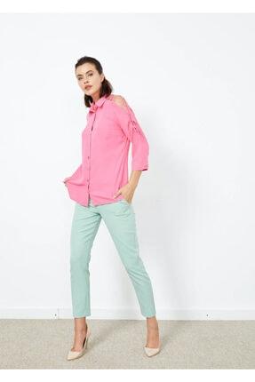 Adze Kadın Pembe Omuz İp Detaylı Yarım Kol Gömlek