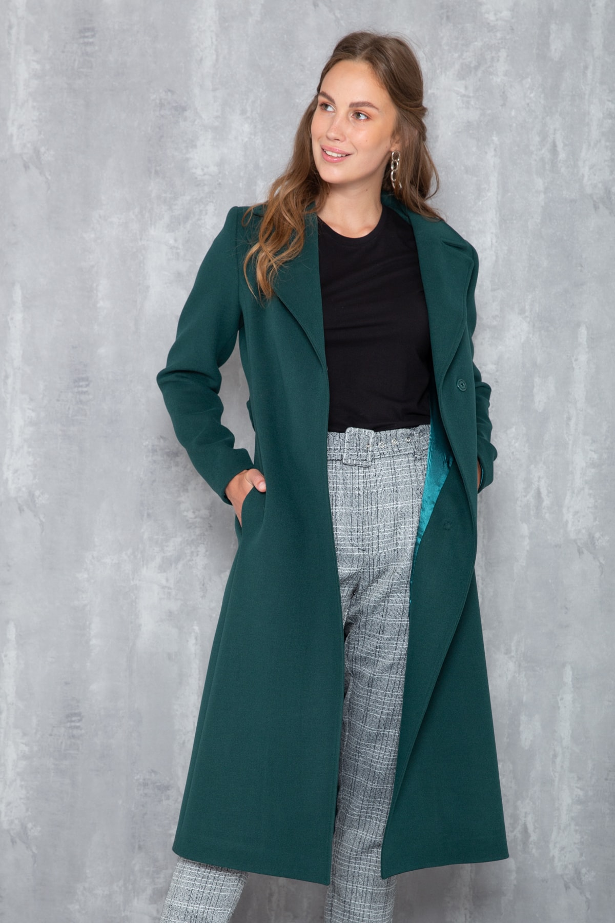 Concept. Kadın K.Yeşil Çıtçıtlı Belden Kuşaklı Ara Boy Kaban K.Yeşil 3633