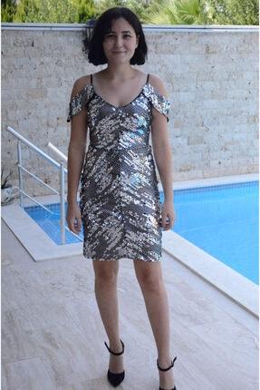 zeynep Kadın Gümüş Pul Payet Kısa Elbise