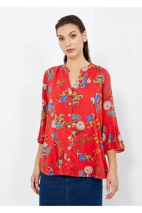 Adze Kadın Nar Çiçeği V Yaka Kol Detay Gömlek