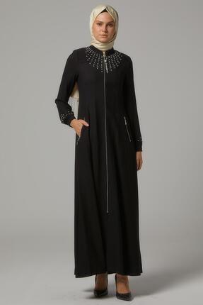 Doque Kadın Siyah İşlemeli Yaka Pardesü Do-b9-65057-26