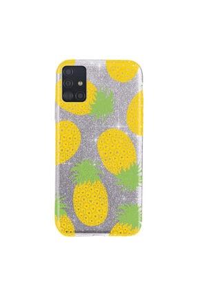 Cekuonline Samsung Galaxy A71 Kılıf Simli Shining Desenli Silikon Gümüş Gri - Stok319 - Ananas