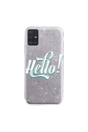 Cekuonline Samsung Galaxy A71 Kılıf Simli Shining Desenli Silikon Gümüş Gri - Stok317 - Hello