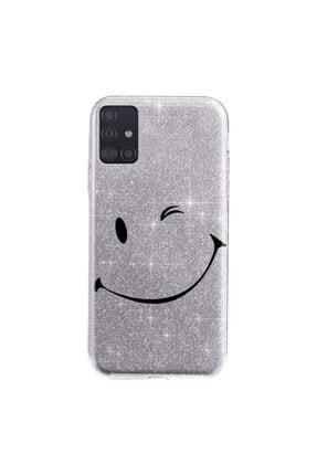 Cekuonline Samsung Galaxy A71 Kılıf Simli Shining Desenli Silikon Gümüş Gri - Stok313 - Smile