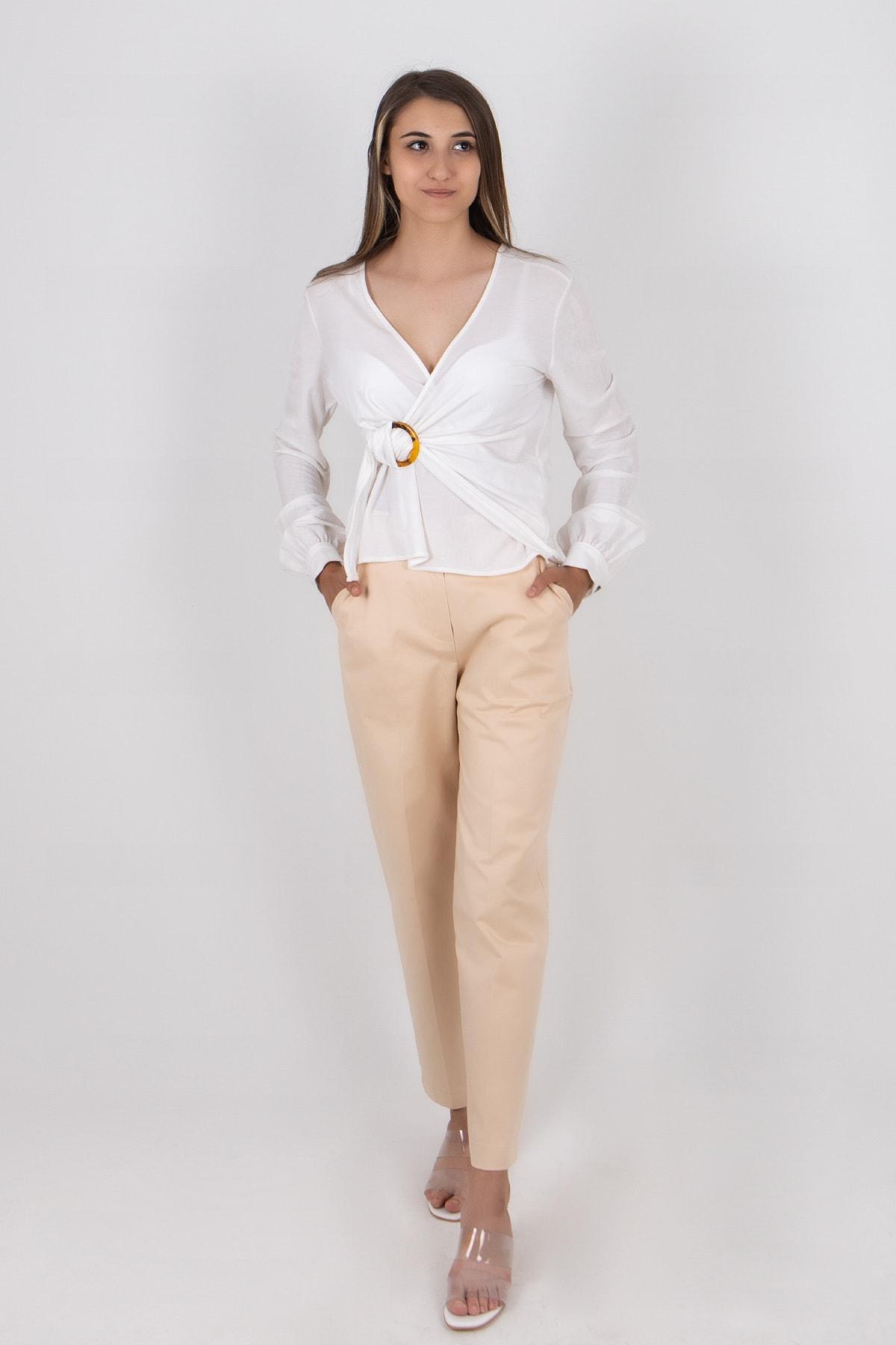BSL Kadın Krem Klasik Pantolon 2