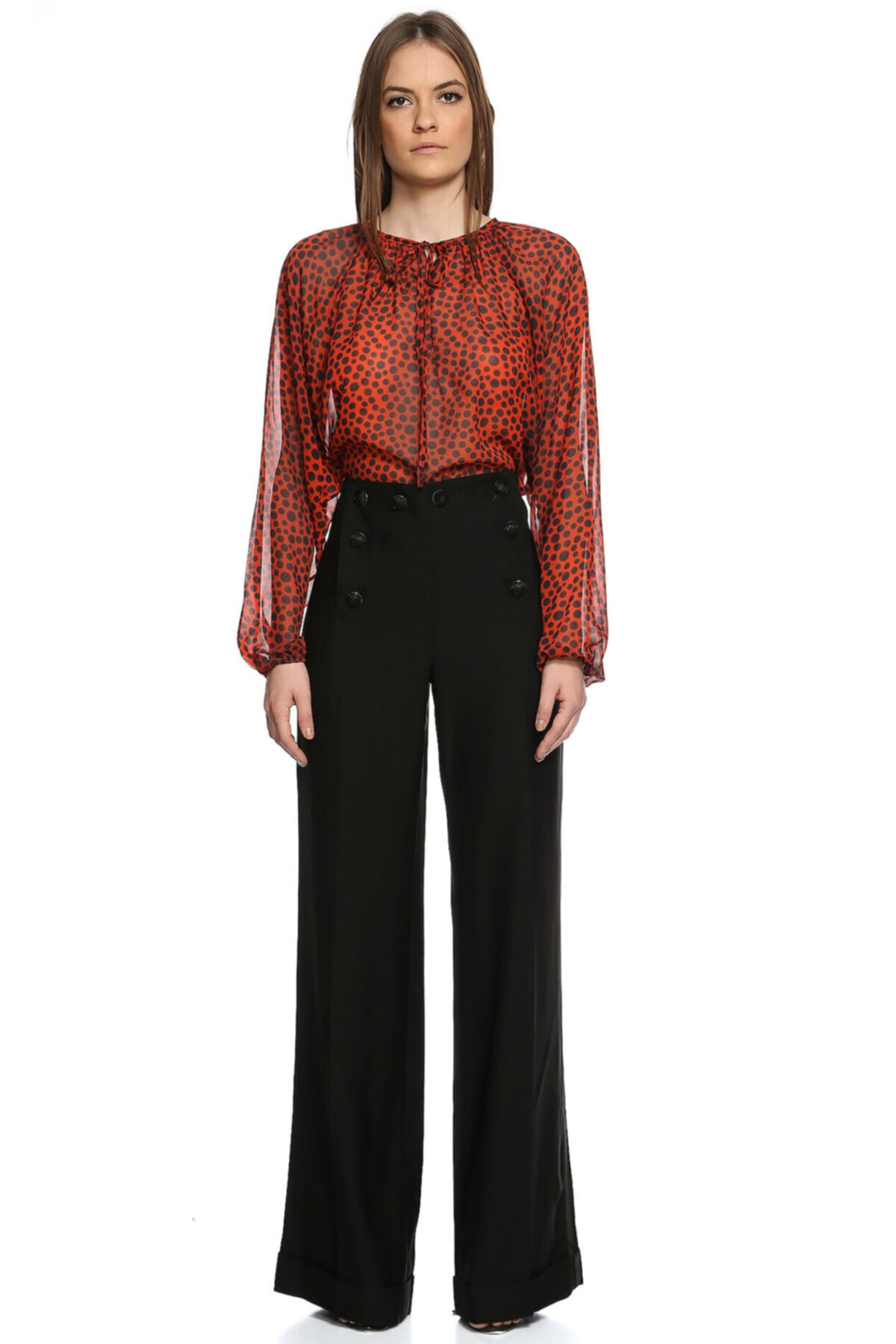 Jean Paul Gaultier Kadın Siyah Bol Paça Pantolon 2