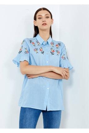 Adze Kadın Mavi Çizgili Çiçek Desenli Düğmeli Gömlek
