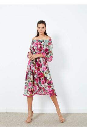 Adze Kadın Fuşya Çiçek Desenli Düşük Omuz Elbise