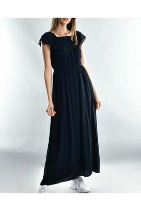 New Look Kadın Siyah Dantelli Madonna Yaka Elbise