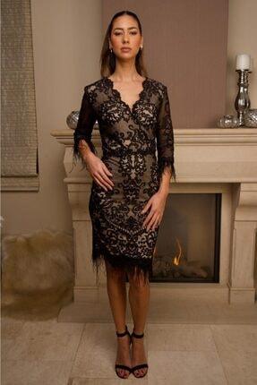 Wens Fashion Kadın Siyah Etek Uçları Tüylü Elbise