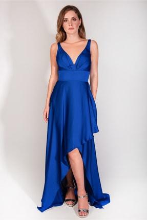MAXXE Kadın Saks Mavisi Anvelop Saten Abiye Elbise