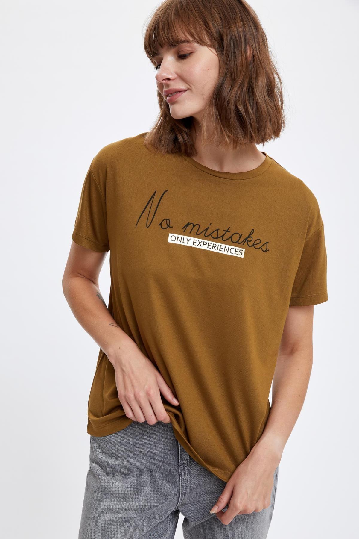 DeFacto Yazı Baskılı Kısa Kollu Tişört