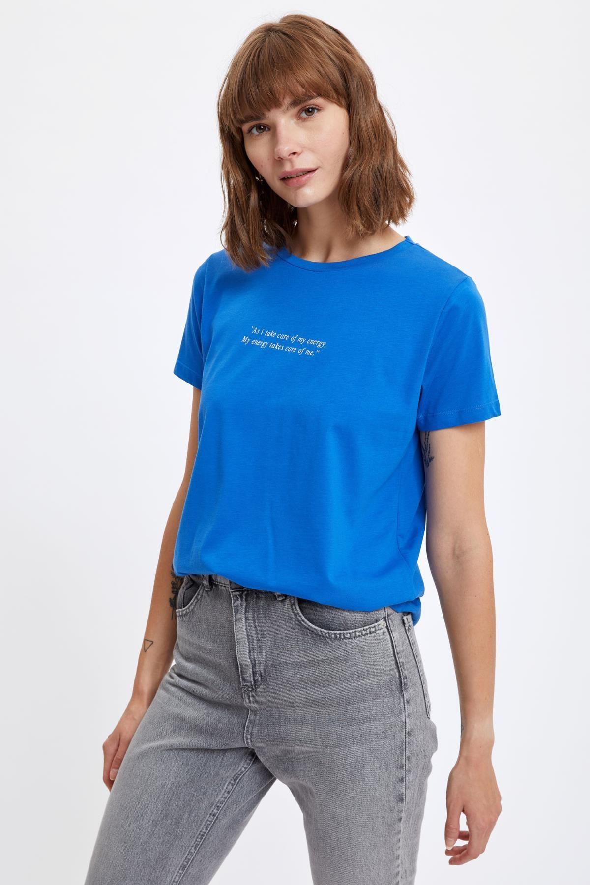 DeFacto Kadın Royal Yazı Baskılı Kısa Kollu Tişört T0013AZ20SM