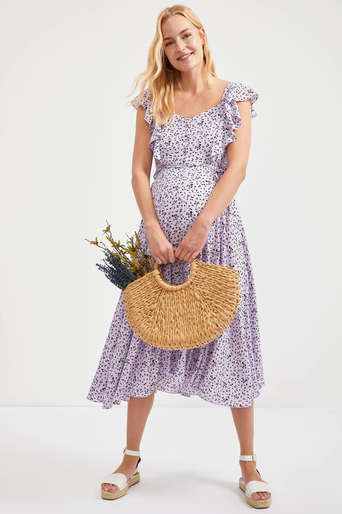 DeFacto Kadın Lılac Maternity Volanlı Midi Örme Elbise S9471AZ20HS