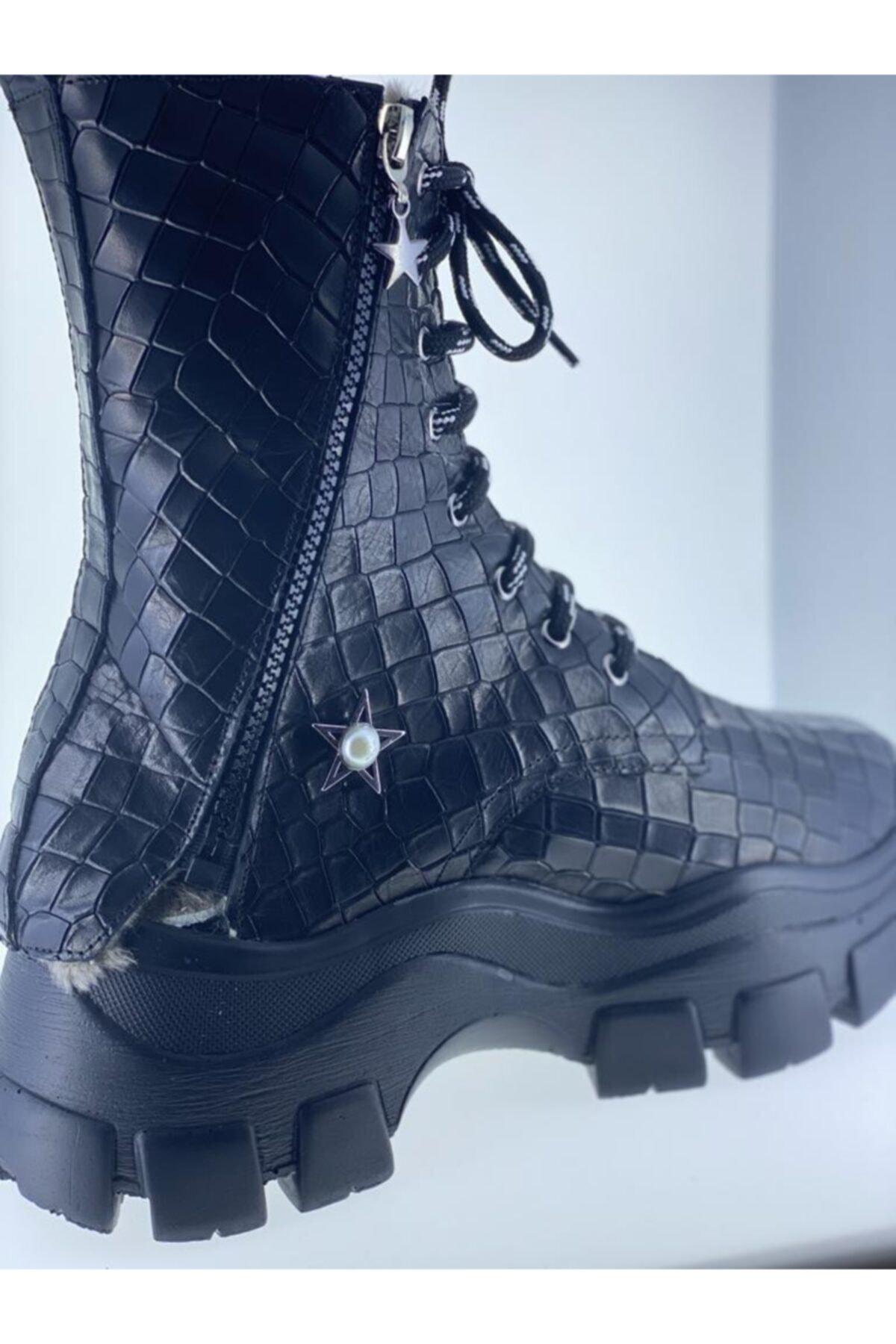 LUXXO Kadın Siyah Hakiki Deri Kroko Sandalet Bot 2