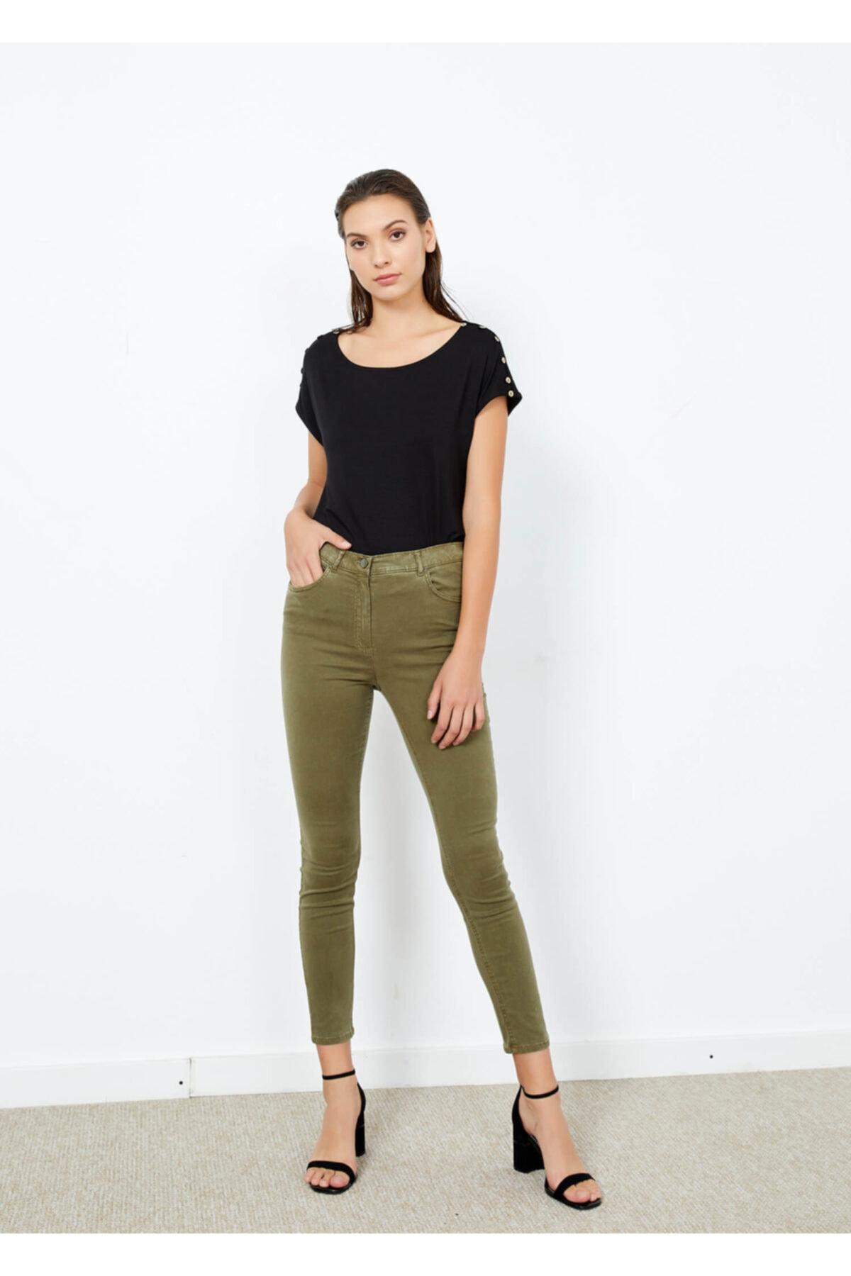 Adze Kadın Haki Dar Paça Slim Fit Pantolon Khaki 54 2