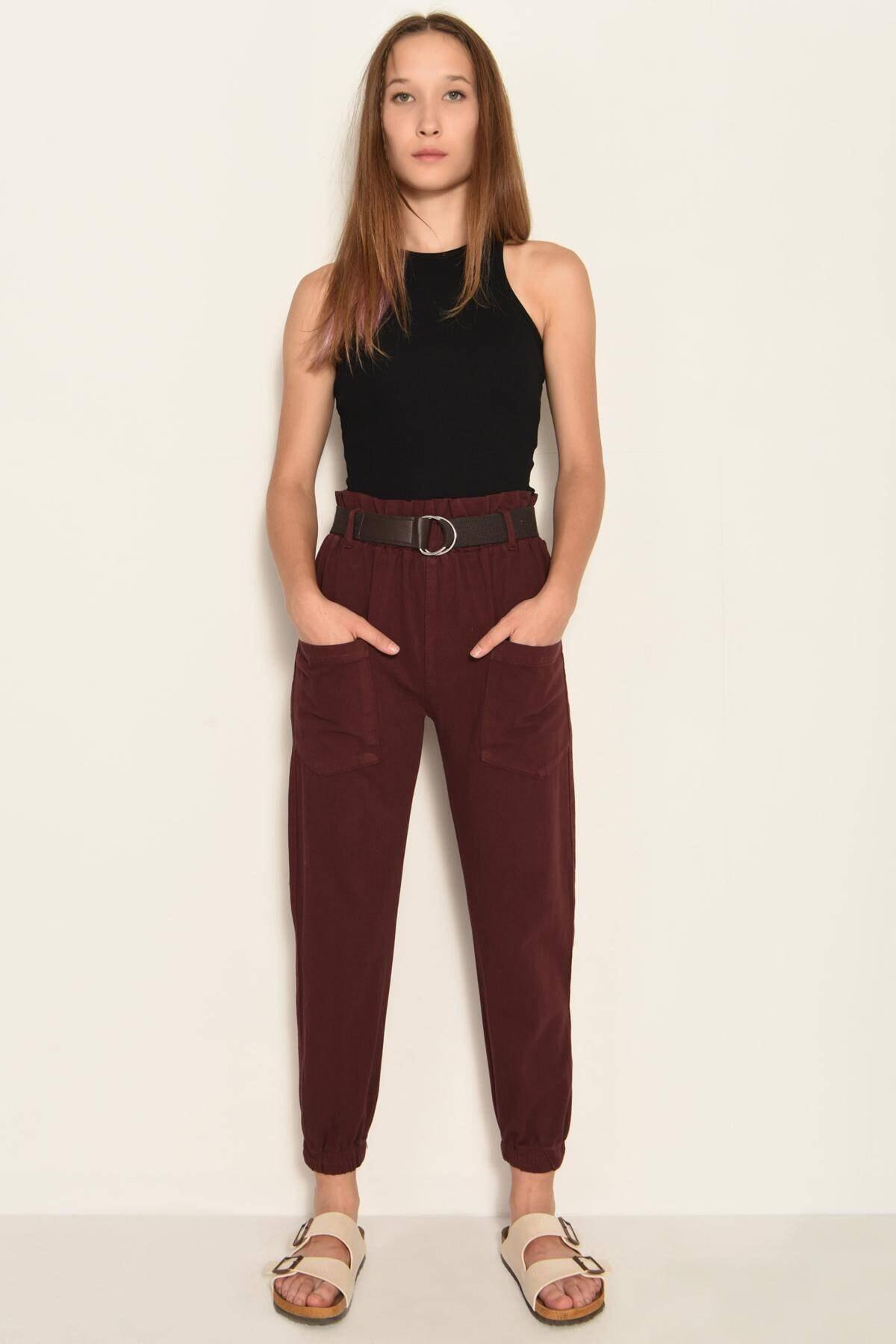 Addax Kadın Bordo Cep Detaylı Pantolon PN4139 - PND ADX-0000020330 1