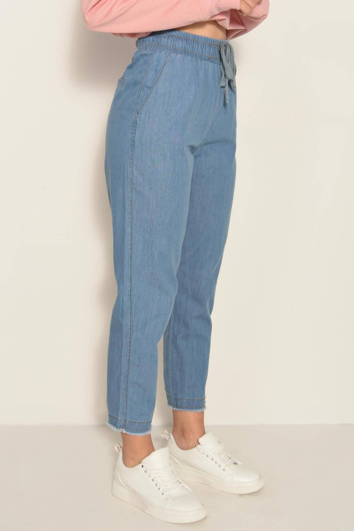 Addax Kadın Kot Rengi Önden Bağlamalı Pantolon PN4317 - PNE ADX-0000022956 2